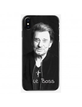 Coque-iPhone-X-XS-Souple-Noir-Johnny-Le-Boss