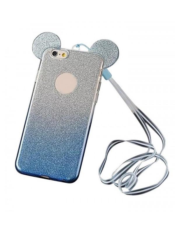 Coque silicone iPhone 5/5S et SE - Oreilles de Mickey pailletée Bleu en 3D