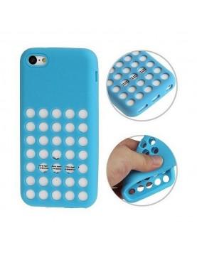 Coque en silicone bleu à trous pour iPhone 5/5S/SE