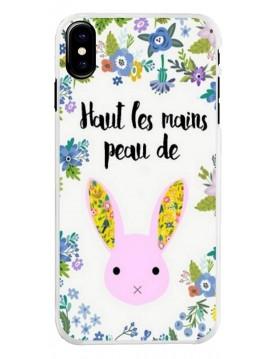 Coque iPhone X/XS - Haut les mains Peau de lapin sur fond de fleurs