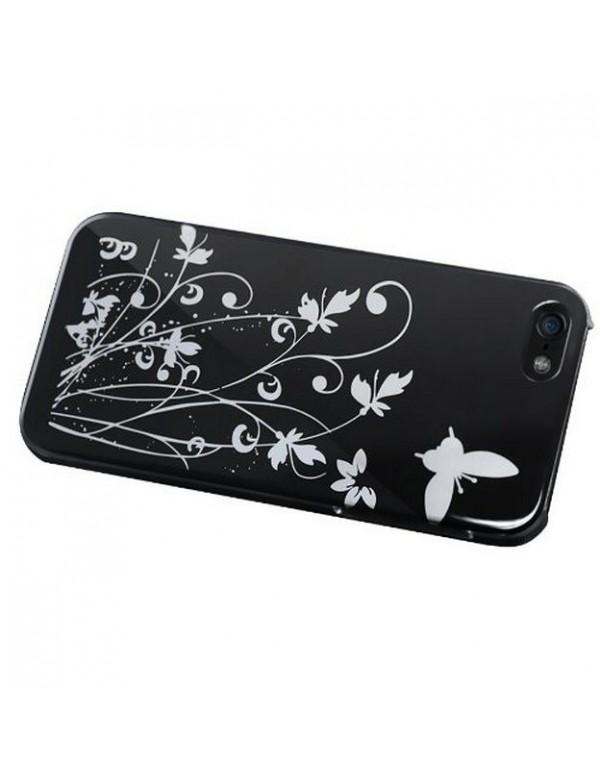 Coque semi rigide iPhone 5/5S Silver Garden noir