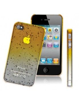 Coque rigide  iPhone 5/5S, SE - Jaune translucide effet 3d goutte de pluie