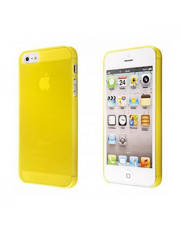 Coque iPhone 5/5S Silicone souple translucide Jaune.