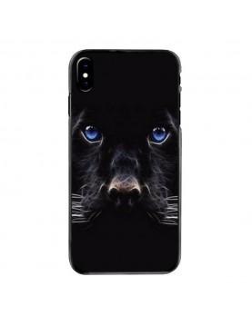 Coque iPhone X/XS Panthere noire aux yeux bleus