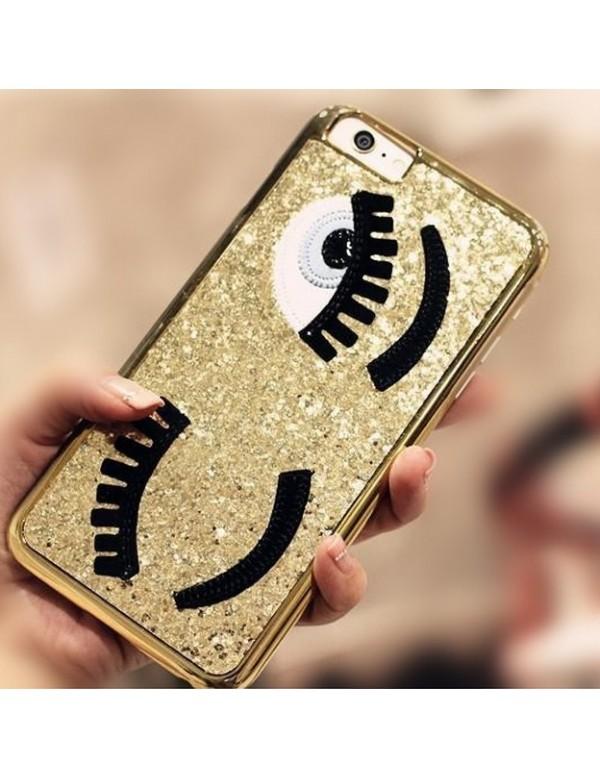 Coque 3D iPhone 5/5S or pailleté yeux bleus clin d oeil