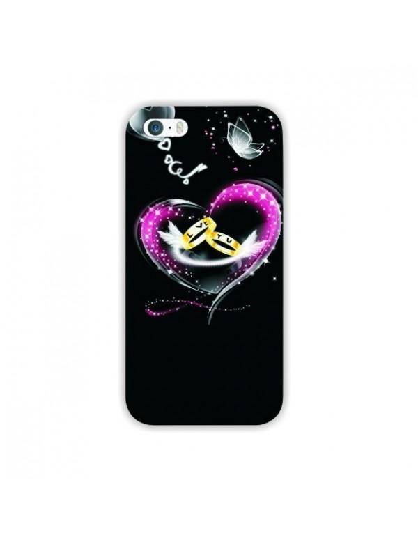 Coque iPhone 5/5S Motif coeur étoiles alliances i love you