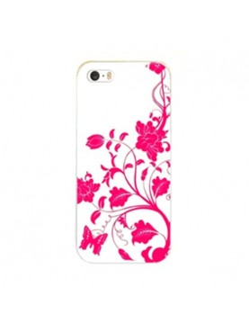 coque-rigide-iPhone-5-5s-fleurs-papillon-rose