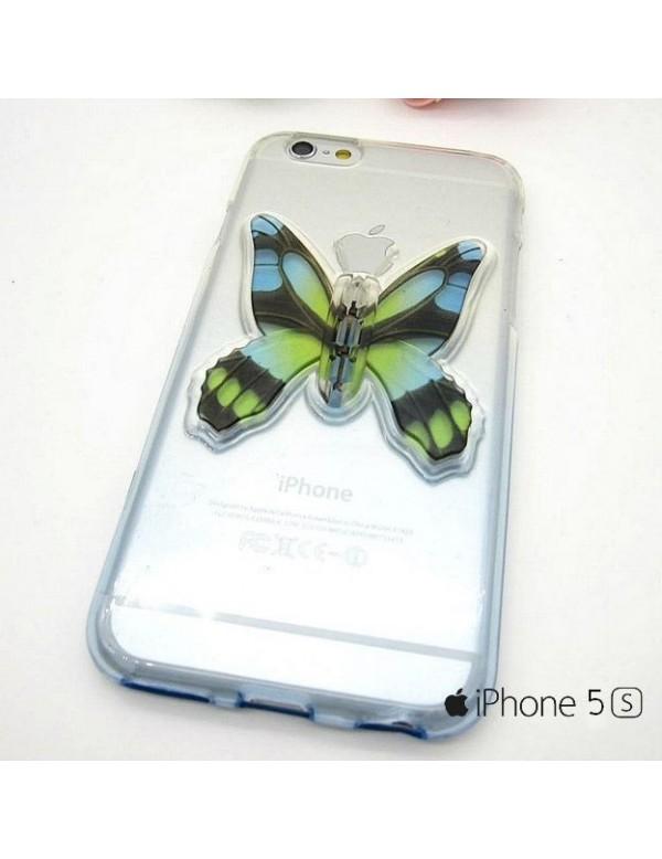 iPhone 5/5S coque souple transparente  bleu avec papillon 3D