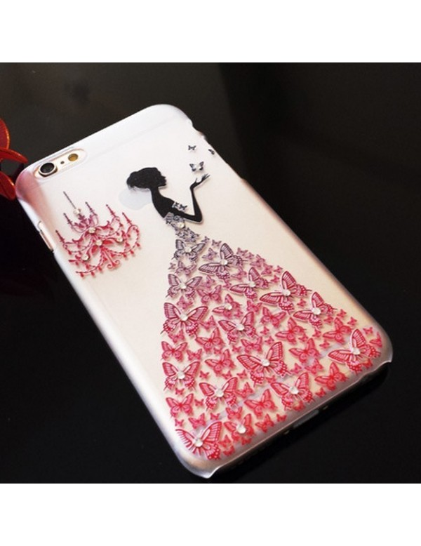 iPhone 5/5S coque souple transparente robe diamant rouge