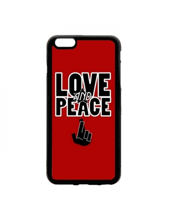 Coque iPhone 5/5S Peace & Love rouge
