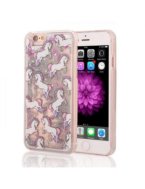 Coque iPhone 5/5S Licornes et paillette liquide