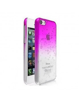 Coque rigide  iphone 5/5S Fushia translucide effet 3d goutte de pluie