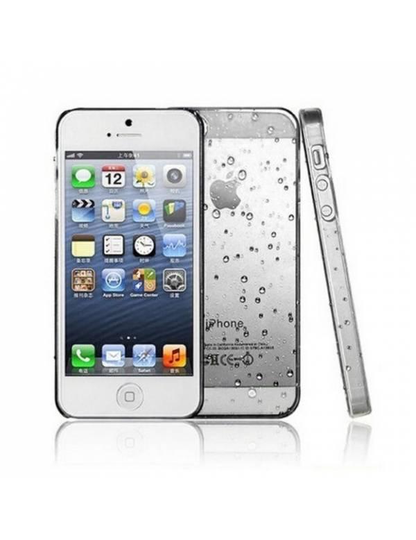Coque rigide  iphone 5/5S, SE  blanche transparente effet 3d goutte de pluie