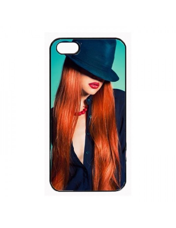 Coque iPhone 5/5S - femme rousse a chapeau