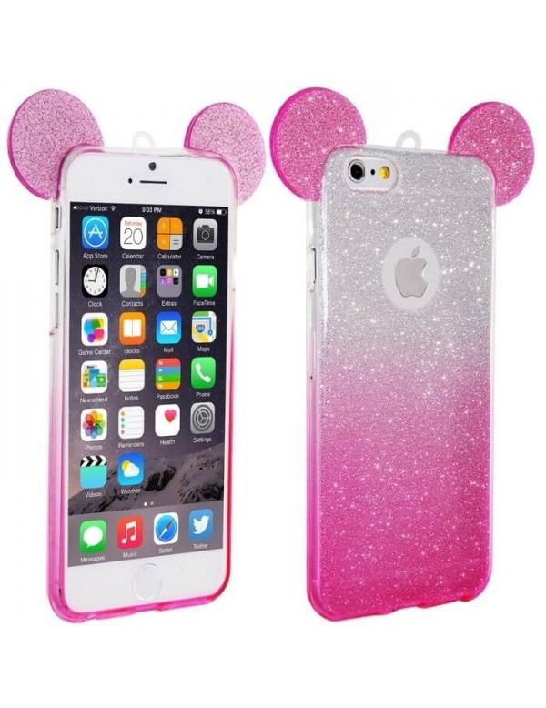 Coque silicone iPhone 5/5S - Oreilles de Mickey pailletée Rose