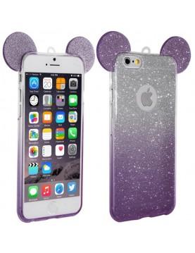 Coque silicone iPhone 5/5S - Oreilles de Mickey pailletée violet