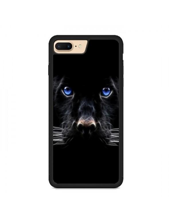 """Coque iPhone 7 PLUS/8 PLUS"""" Panthere noire aux yeux bleus"""