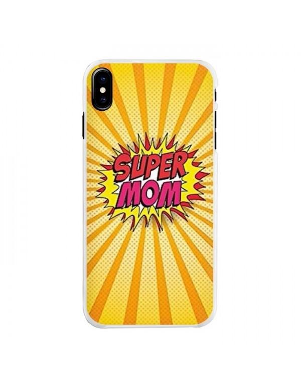 Coque iPhone X/XS rigide - Super Mom explosive.