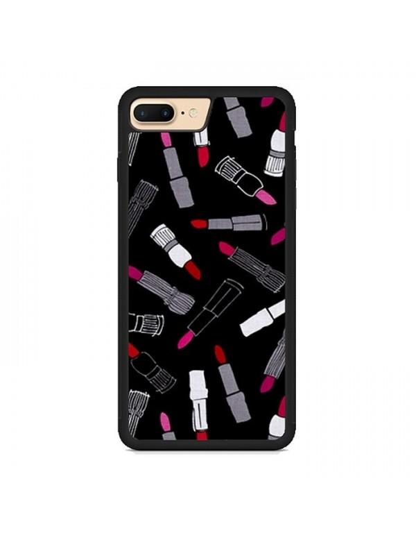 Coque iPhone 7 Plus/8 Plus - Rouge à lèvres sur fond noir
