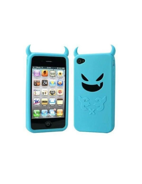 Coque silicone iPhone 4/4S - Petit diable -Bleu turquoise