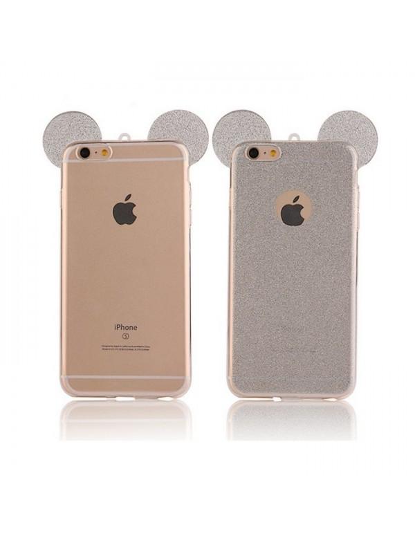 Coque silicone iPhone 7 PLUS/8 PLUS - Oreilles de Mickey pailletée gris argent