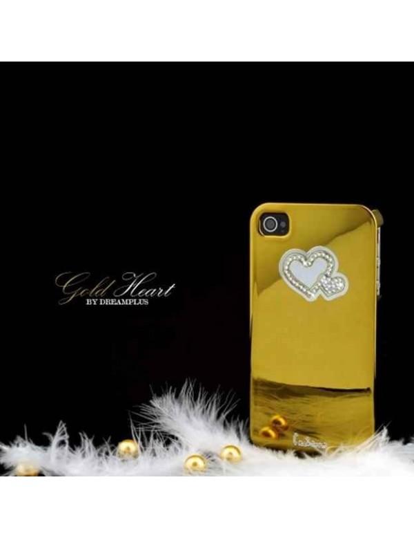 Coque rigide iPhone 4/4S - Couleur Or brillant Coeur diamant
