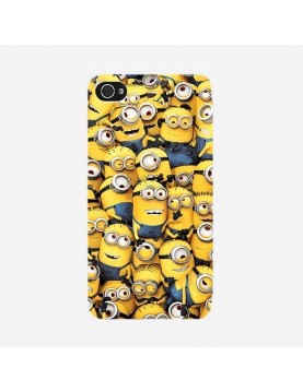 Coque-iPhone-4-4s-la-famille-minion-rigide-contours-transparents