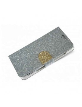 Etui- portefeuille- iPhone- 6 Plus-/6S Plus - Look- Glam- strass - Argent-