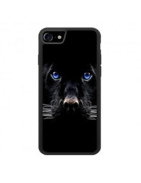 Coque iPhone 7/8 - Panthère noire aux yeux bleus