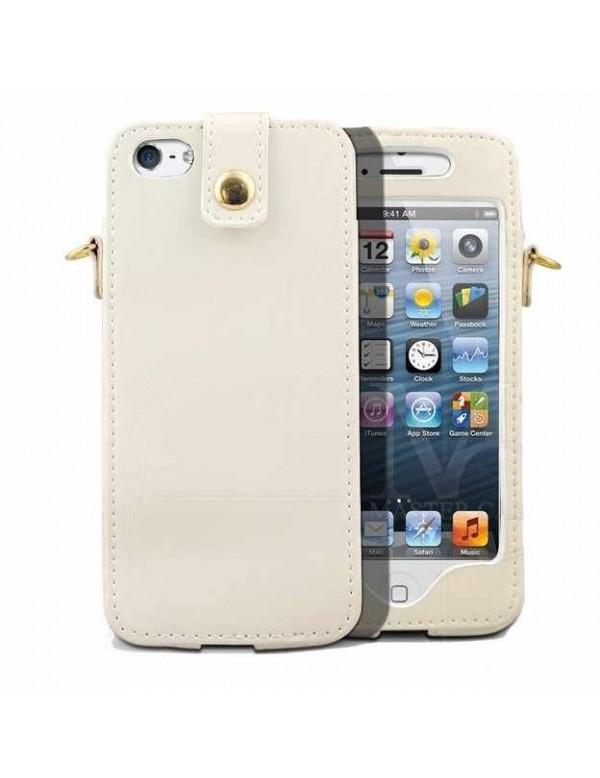 Etui à clapet iPhone 5/5S - Melkco Leather- Blanc