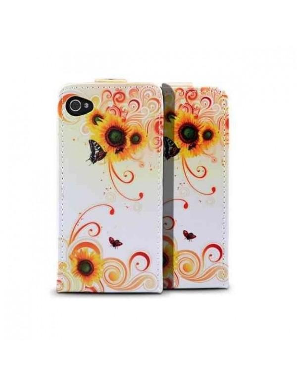 Etui clapet iPhone 4/4S - Fleurs jaunes et papillon